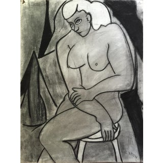 Henry Woon 1950's Conti Crayon Female Nude