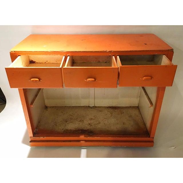 Vintage Orange Rustic Storage Cabinet - Image 3 of 4