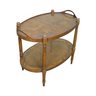 Heritage Vintage French Louis XVI Style Burl Walnut 2 Tier Oval Side Table
