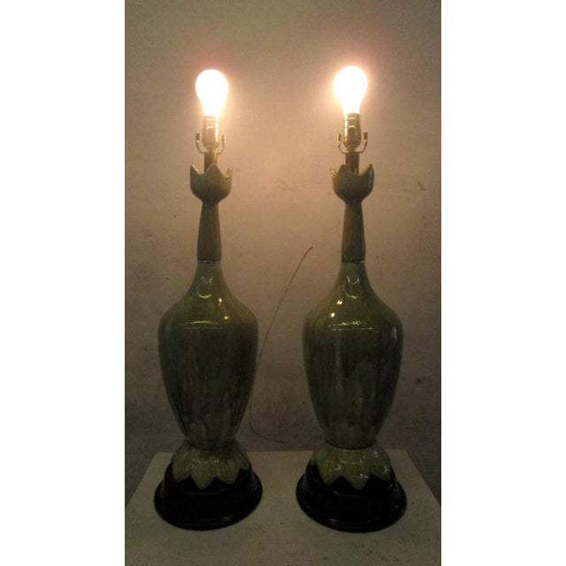 Image of Green Ceramic Lamps With Flower Motif - Pair