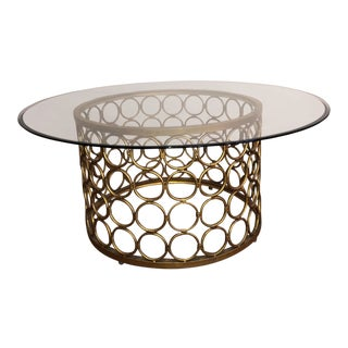 Round Glass Top & Gold Base Coffee Table