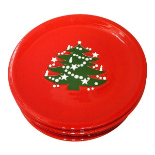 Vintage Red Christmas Tree Plates - Set of 6