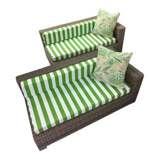 one arm outdoor patio sofa chaise lounge with green white cushions a pair
