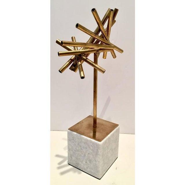 Modern Brass & Marble Abstract Tubular Sticks Sculpture - Image 2 of 9