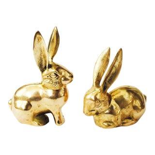 Vintage Brass Rabbit Figurines - A Pair
