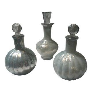Mercury Glass Decanters - Set of 3