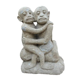 Stone Statue of 3 Embracing Monkeys