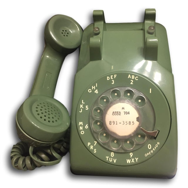 Mid-Century Modern Green Rotary Dial Phone - Image 2 of 5