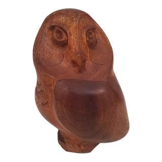 Mid-Century Vintage Carved Owl Figure