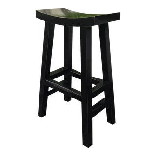 Asian Black Lacquered Bar Stool