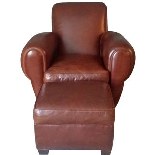 Restoration Hardware Leather Chair & Ottoman