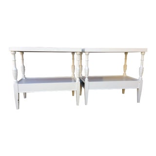 Two Tier Painted White Wood Side Tables - A Pair