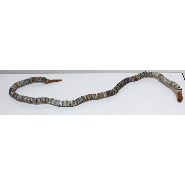Folk Art Carved Wood and Bottlecap Snake after Felipe Archuleta - Image 8 of 10