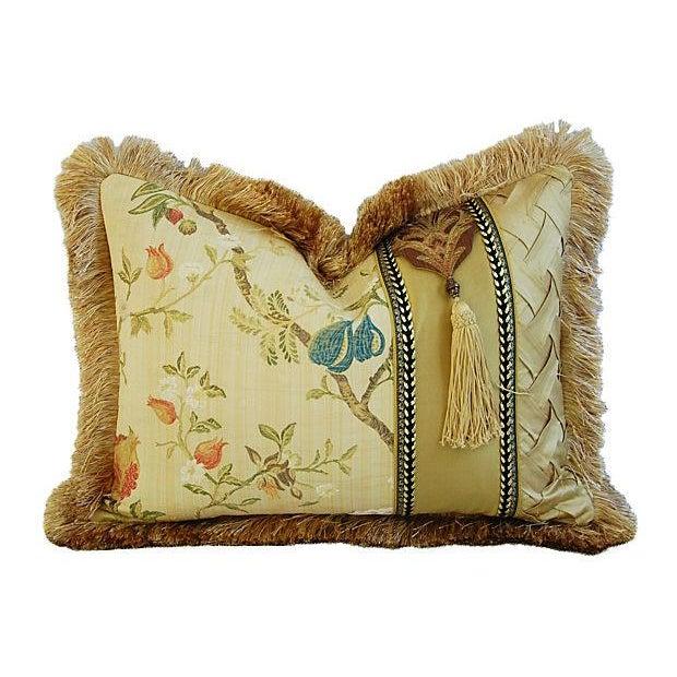 Italian Scalamandré Melograno Lampas Pillow - Image 5 of 7