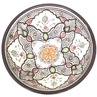 Moroccan Hand-Painted Large Brown Ceramic Bowl