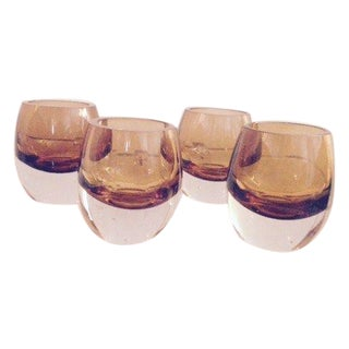 Blown Glass Amber Cognac Glasses