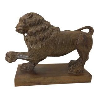 1930s Carved Wood Italian Lion Figurine