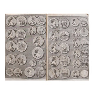 Original 1745 British Engravings, Medals of Queen Mary - A Pair
