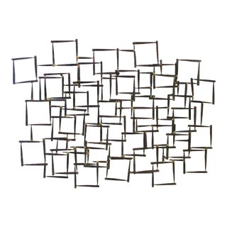 Abstract Modernist Brutalist Metal Wall Sculpture
