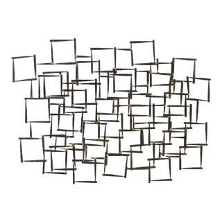 Abstract Modernist Brutalist Metal Wall Sculpture