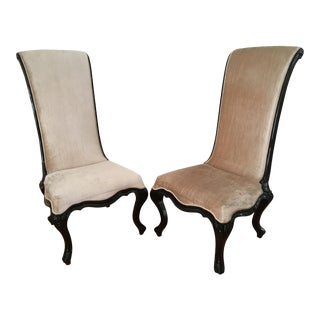 High-Backed Champagne Velvet Chair With Sculpted Legs - A Pair