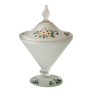 Vintage Frosted Glass Candy Dish