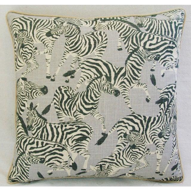 Image of Designer Safari Zebra Linen & Velvet Pillow