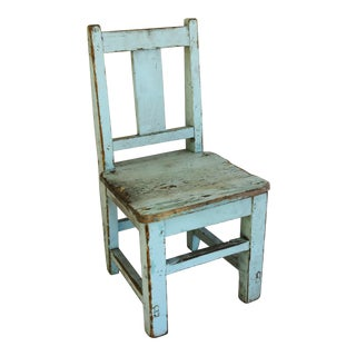 Antique Powder Blue Primitive Child's Chair