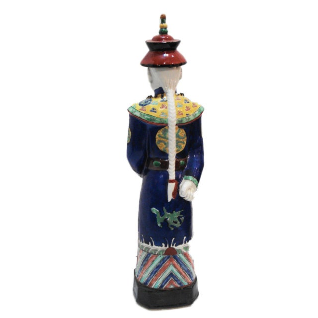 Chinese Hand Painted Cobalt Blue Porcelain Figure of an Official - Image 2 of 5