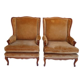 Vintage French Style Wingback Chairs - A Pair