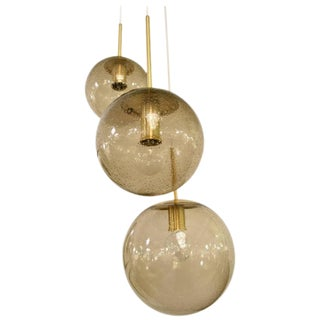 Smoked Bubble Glass Triple Orb Fixture