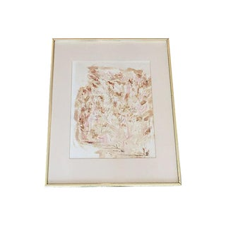 Midcentury Abstract Watercolor Nature Scene