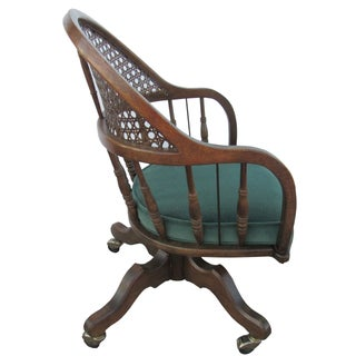 Mid-Century Barrel Back Caned Spindle Chair
