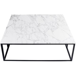 Modern Minimalist White Marble Coffee Table