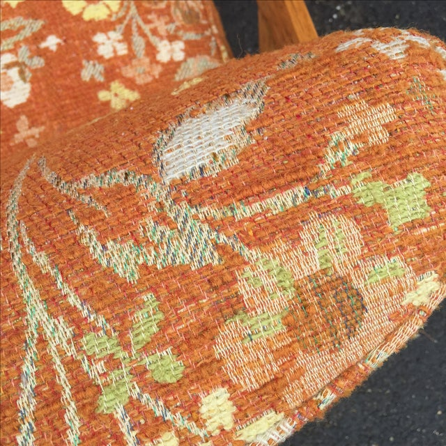 Mid-Century Orange Floral Lounger - Image 7 of 10