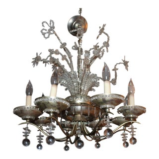 """1920's French Art Deco / Hollywood Regency """"Maison Bagues"""" 28 Light Chandelier With Floral Decor"""