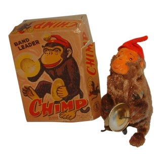 1950s Vintage Wind Up Band Leader Chimp & Box