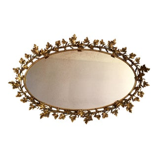 Brass Ivy Leaf Mirrored Vanity Tray