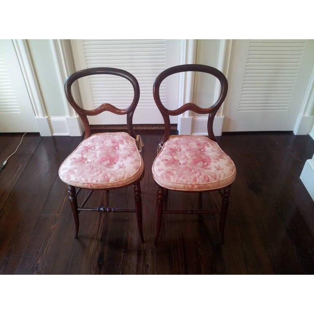 Pair of Mahogany Balloon-Back Chairs/Bennison Seats - Image 2 of 9