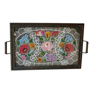 Vintage Embroidered Lace Wood Tray
