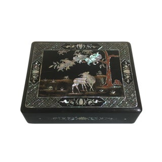 Korean Black Lacquer and Mother of Pearl Document Box, 1930's