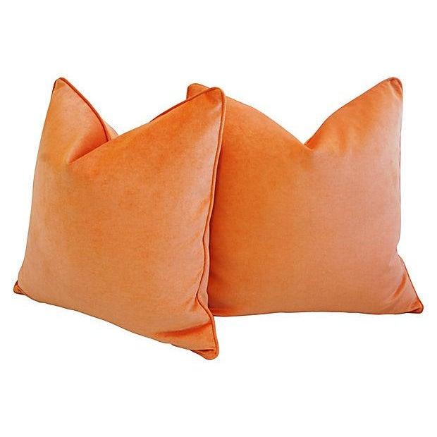 "24"" Custom Tailored Chic Tangerine Orange Velvet Feather/Down Pillows - Pair - Image 3 of 6"