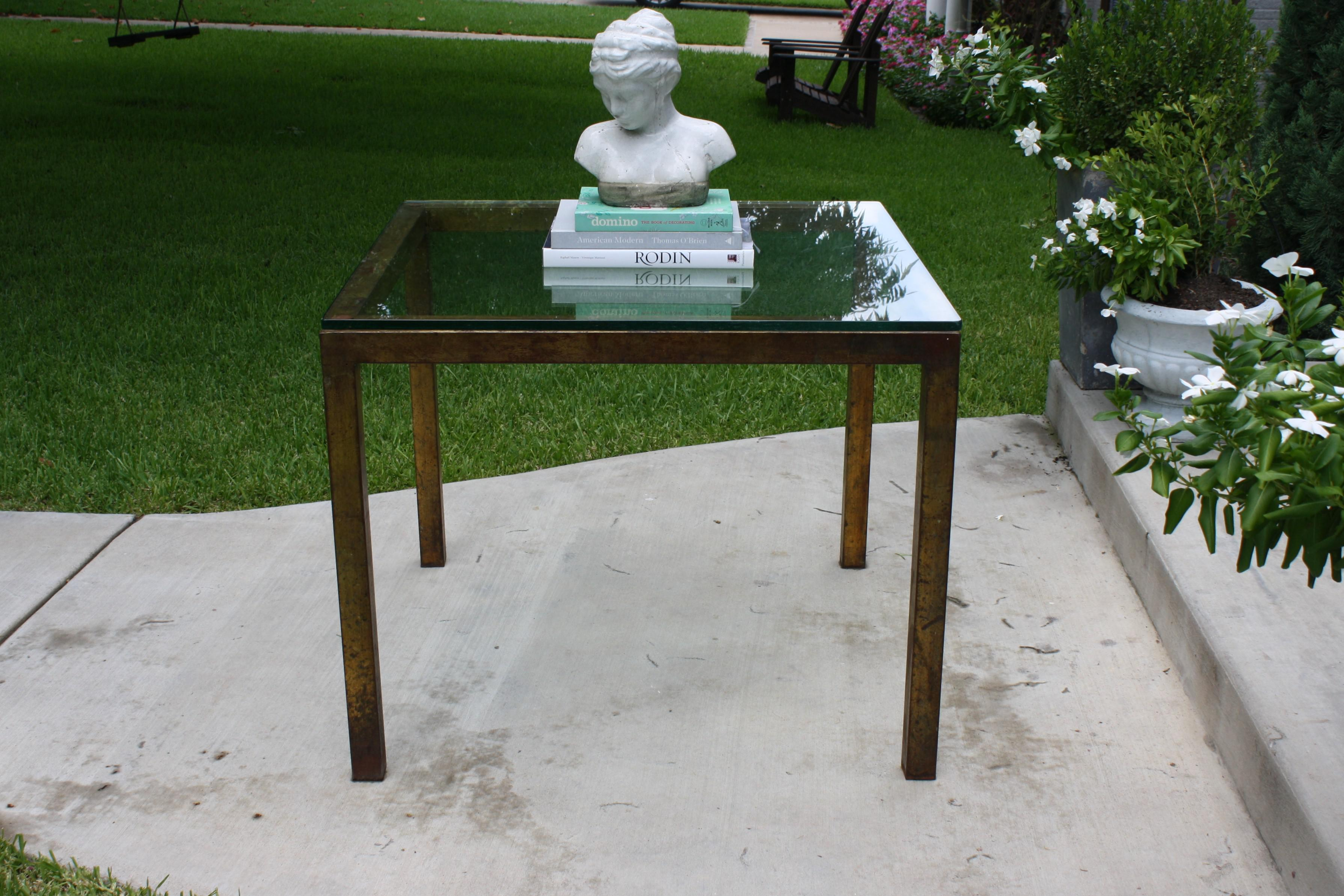 Vintage Modernist Gilt Metal Parsons Table With Thick Glass Top   Image 6  Of 10
