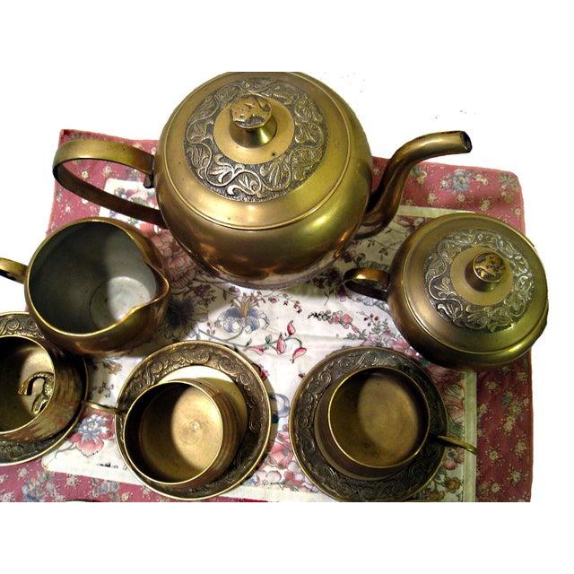 Vintage Hammered Brass Goldfish Tea Set - Image 2 of 10