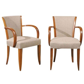 Pair of French, 1920s, Art Deco Armchairs with Upholstered Backs and Seats