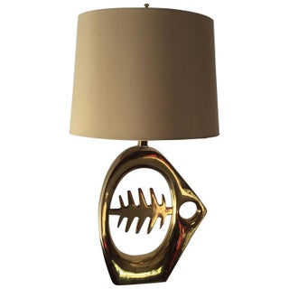 Modernist Brass Fish Skeleton Table Lamp