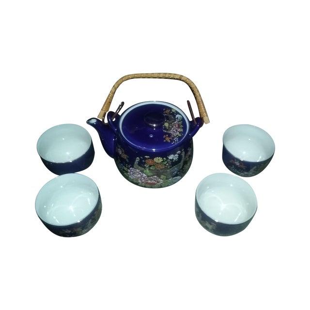 Image of Cobalt Blue Asian Vintage Peacock Tea Set for Four
