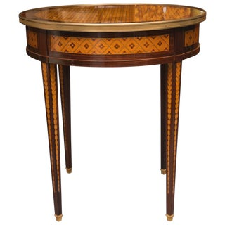 Circular Inlaid Louis XVI Side Table with Brass Accents