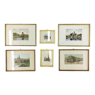 Gold Framed Vintage Travel Prints - Set of 6
