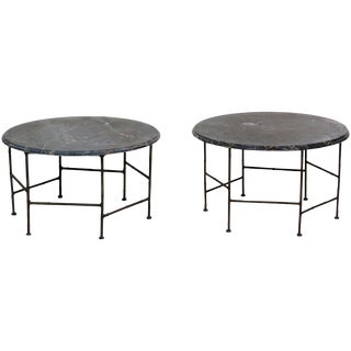 Faux Bamboo Marble Top Side Tables - A Pair